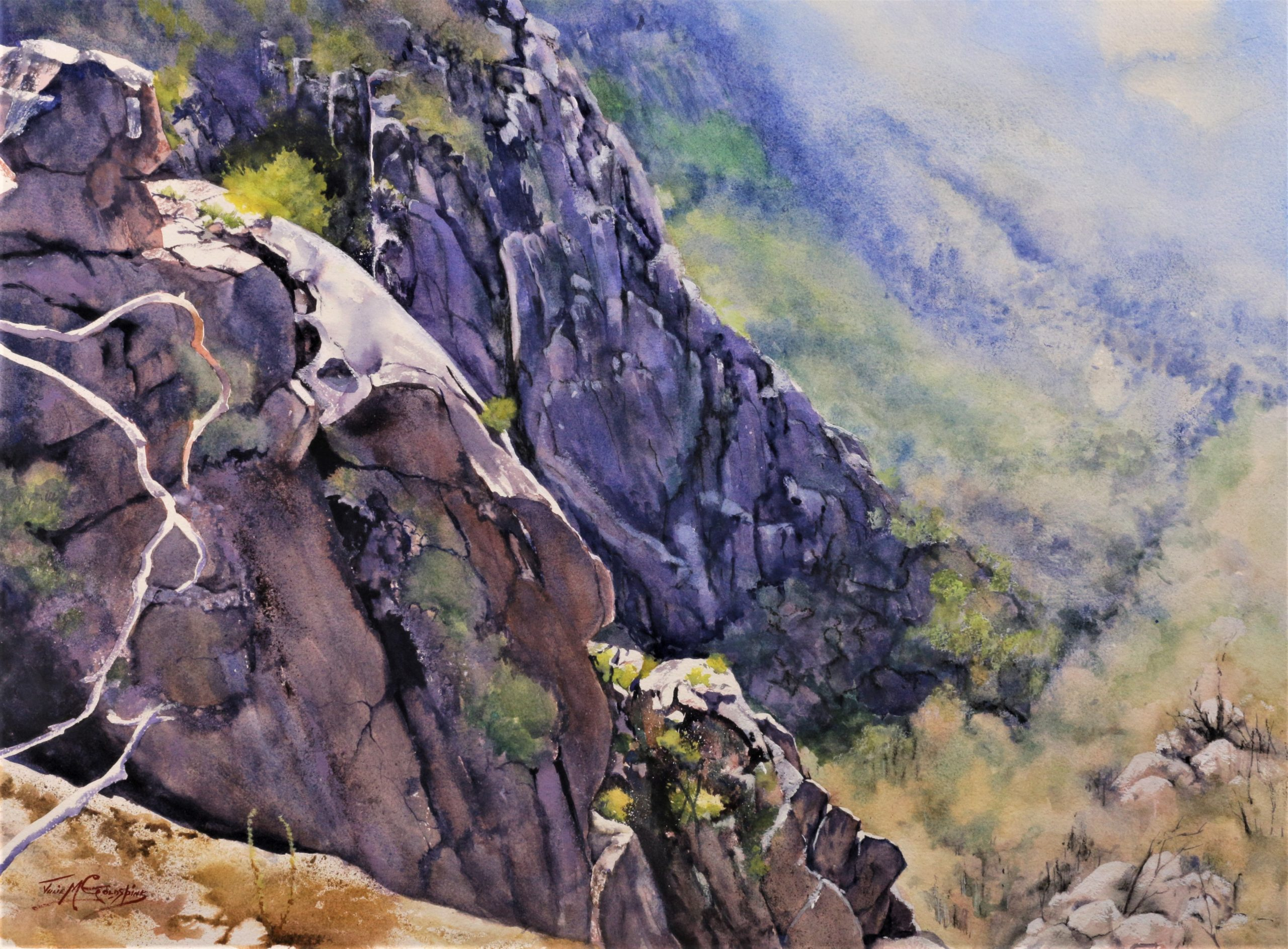 View From Mt Buffalo on Arches 356gsm Rough. 56 cm x 76 cm. AWI